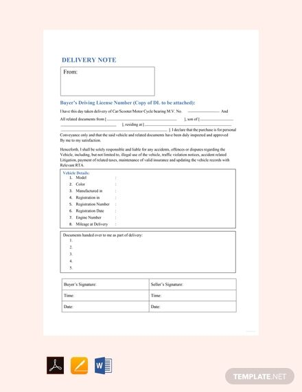 Free Sample Vehicle Delivery Note Template Templates Word Doc