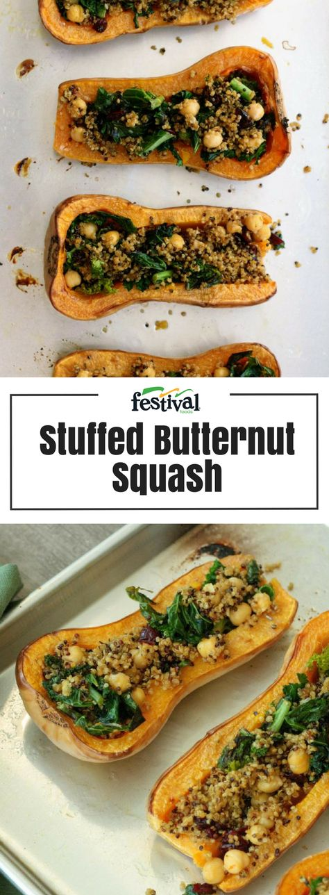 This vegetarian stuffed butternut squash is overflowing with good-for-you ingredients like kale, dried cranberries, and quinoa and it is packed full of flavor. Let veggies shine on your dinner table with this delicious recipe! #butternutsquash #vegetarian #stuffedsquash #kale #cranberries #quinoa #veggies #dinnerrecipes