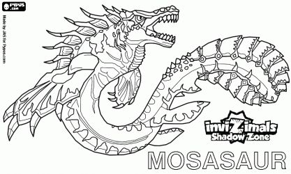 Colorear Mosasaur Invizimals La Otra Dimension Autentico Monstruo Marino Con Poderosas Aleta Invizimals Libro De Dinosaurios Para Colorear Arte De Personajes