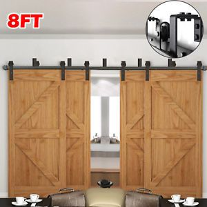 6ft 6 6ft 10ft Rustic Bypass Sliding Barn Wood Double 4 Doors Hardware Track Kit Double Sliding Barn Doors Sliding Barn Door Hardware Interior Barn Doors