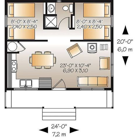 Beach House Floor Plans, Guest House Plans, Garage House Plans, Dream House Plans, Small House Layout, House Layouts, Cabin Design, Tiny House Design, Small Cabin Plans