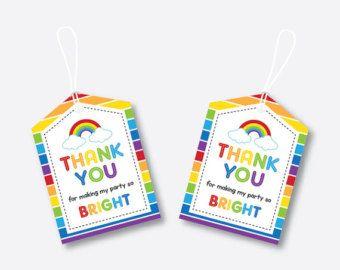 Rainbow Birthday Party Rainbow Hang Tags Rainbow Birthday Party YOU PRINT Printable Rainbow Favor Tags DIY Rainbow Thank you Tags