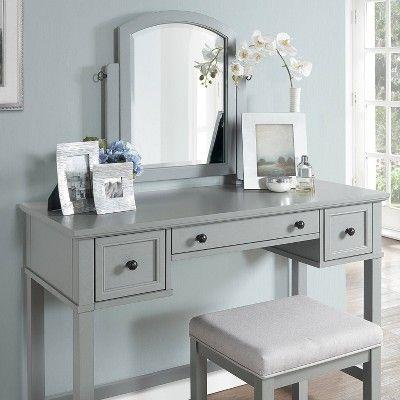 Surprising Vista Vanity Stool Linen Vintage Dove Gray Crosley Alphanode Cool Chair Designs And Ideas Alphanodeonline