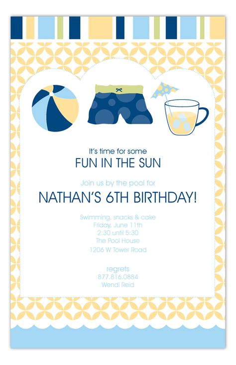 I remember when Nathan turned 6 and this Blue Pool Trio Invitation from Polka Dot Digital was one of his most favorite things from that party.