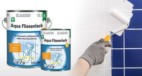 Fliesen Streichen Mit Aqua Fliesenfarbe Fliesenlack Auf Wasserbasis 3 In 1 System Grundierung Deckanstrich Und Versiegelung Fliesenlack Fliesenfarbe Fliesen