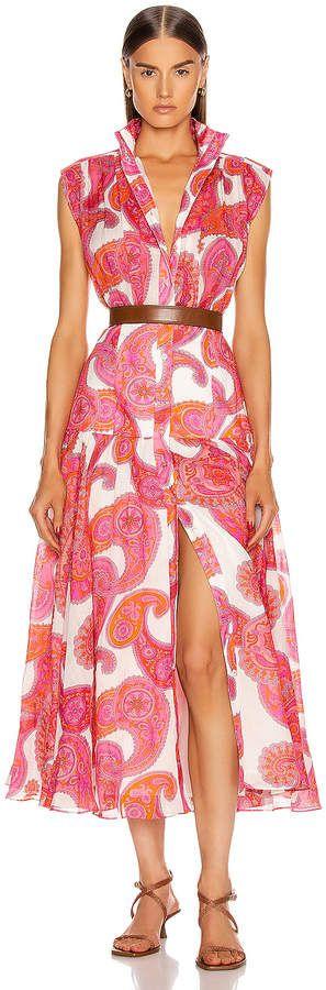 Zimmermann Peggy Sleeveless Shirt Dress in Magenta Ivory Paisley  FWRD #Sponsored , #SPONSORED, #Sleeveless#Shirt#Zimmermann