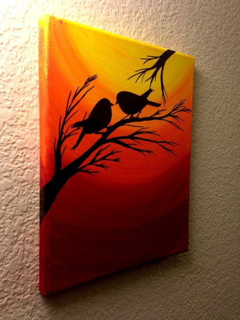 Original Acrylic Painting On Canvas Sunset Love Birds Birds On A Tree Silhouette Art 8 By 10 Inches Stretched Framed Canvas Signed Art Original Sunset Painting Christmas Sale Love Birds Silhouette At Sunset Birds Wall Art Acrylic Paint