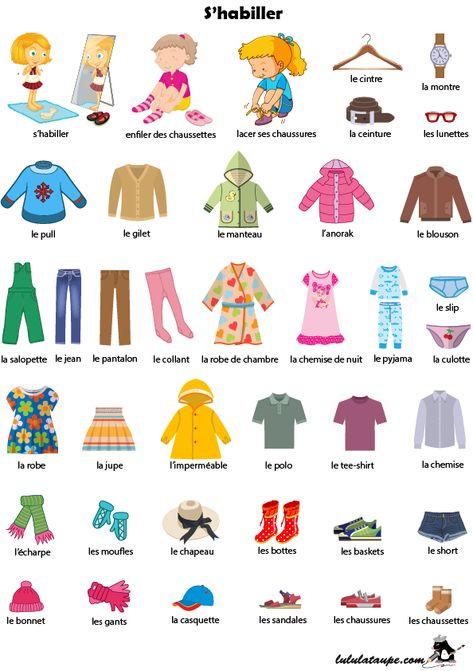 Imagier à imprimer ; s'habiller, les vêtements - Lulu la taupe, jeux gratuits pour enfants