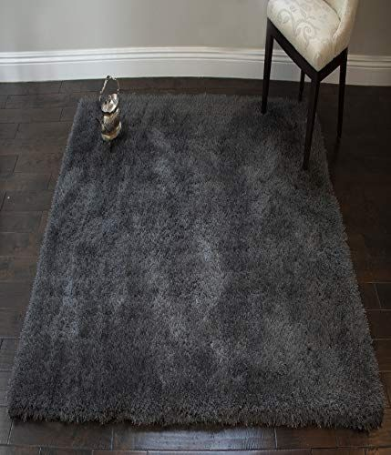 La Rug Linens Solid Dark Gray Dark Grey Charcoal Shiny Metallic Shag Shaggy 8x10 Modern Conte 8x10 Charcoal Conte Dar In 2020 Grey Fluffy Rug Rugs On Carpet Rugs
