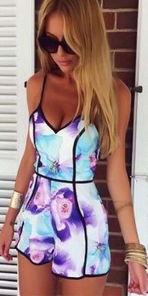 Sexy V-neck High Waist Floral Print Sling Jumpsuits