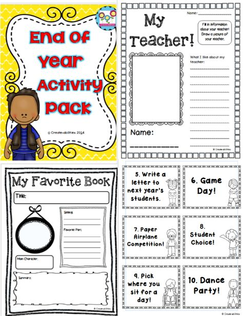 End of Year Activity Pack! Perfect to fill in those days after testing before school ends! Lots of activities to choose from! $ #endofyear #memorybooks #funstuff