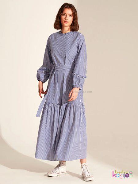 Kusakli Cizgili Uzun Elbise 2020 Cizgili Uzun Elbise Uzun Elbise Elbise
