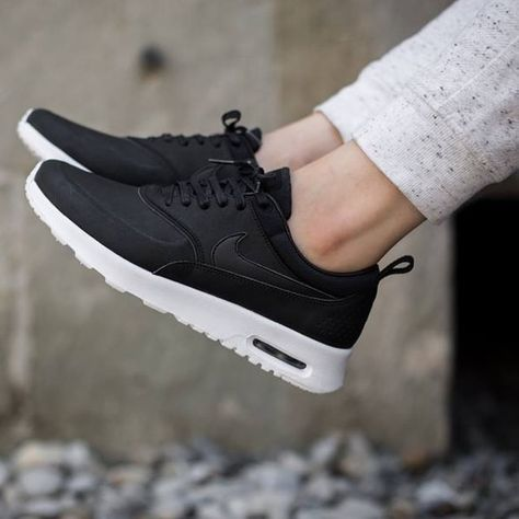 get cheap 78e6a c2c32 Nike Air Max Thea Premium black leather Nike Air Max Thea returns in a very  classy execution. Built with a premium leather upper in a simple black and  white ...