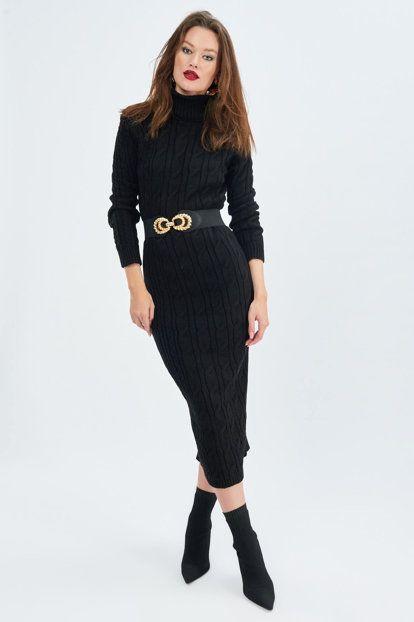 Kadin Siyah Sac Orgulu Triko Elbise Sf18 Moda Stilleri Elbise Moda Kiyafetler
