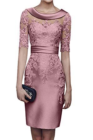 Charmant Damen 2018 Champagner Satin Abendkleider Partykleider Ballkleider Langarm Knielang Festlich Kleider 50 Rosa A Abendkleid Party Kleider Kleider Damen