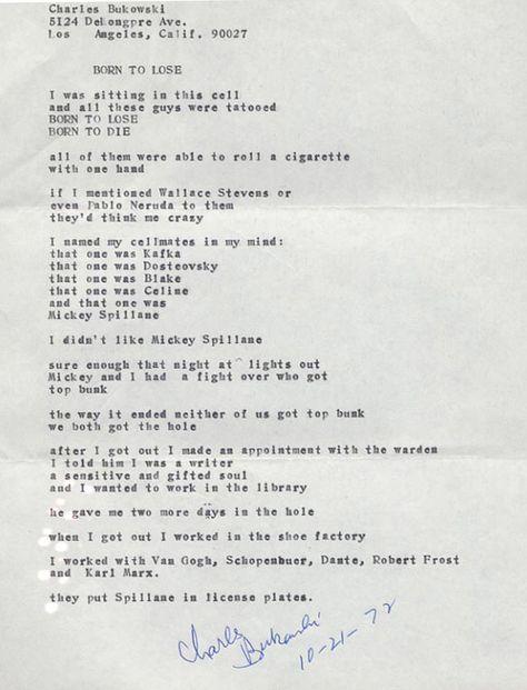 Charles Bukowski Manuscript Charles Bukowski Poems