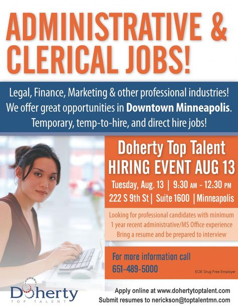 Join us for an Administrative \ Clerical Job Fair in downtown - clerical experience