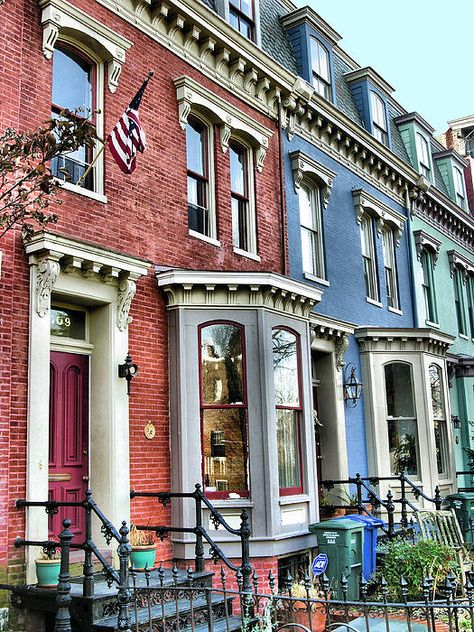 Rowhouses Of Eastern Market Xiv Canvas Print / Canvas Art by Steven Ainsworth