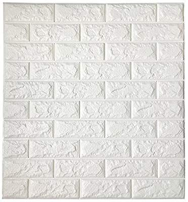 Amazon Com Art3d Peel And Stick 3d Wall Panels For Tv Walls Sofa Background Wall Decor White Brick White Brick Wallpaper 3d Brick Wall Panels 3d Wall Panels