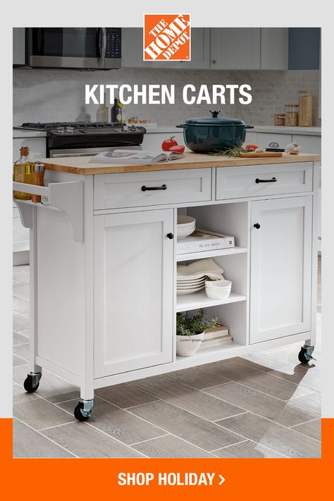 Plus up your kitchen space with a versatile kitchen cart from The Home Depot. From added storage to a mobile cooking space, kitchen carts can help you prepare for any celebration. Click to shop all kitchen cart options online at The Home Depot.
