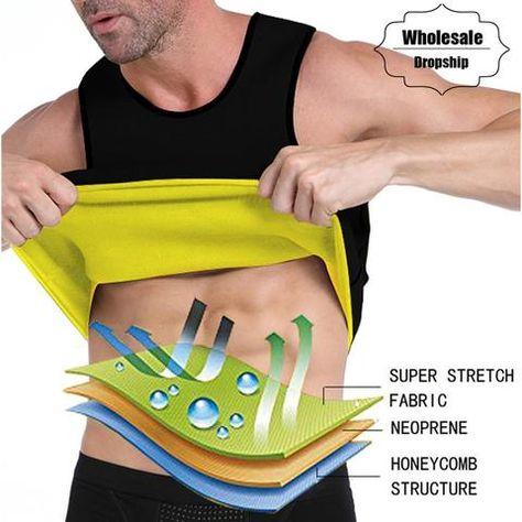 cfd6057172 NINGMI Body Shaper Mens Sauna Vest Neoprene Hot Sweatshirt Tummy Control  Slimming Fitness Tracksuit Tank Top Ultra Super Stretch