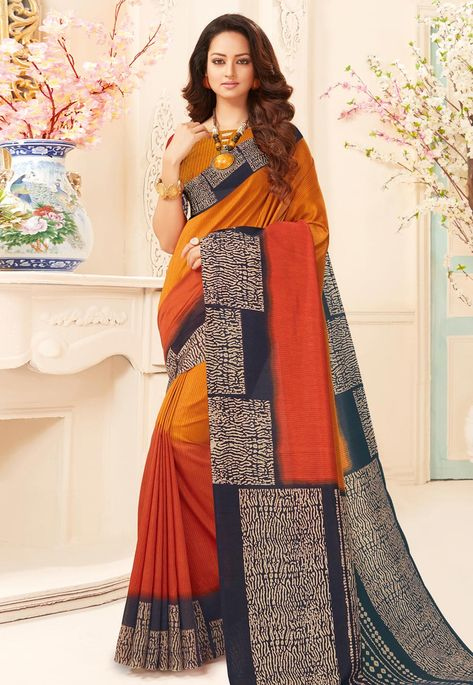 f3a6d3c7a20b9b Buy Mustard Art Silk Saree With Blouse 156115 with blouse online at lowest  price from vast collection of sarees at Indianclothstore.com.