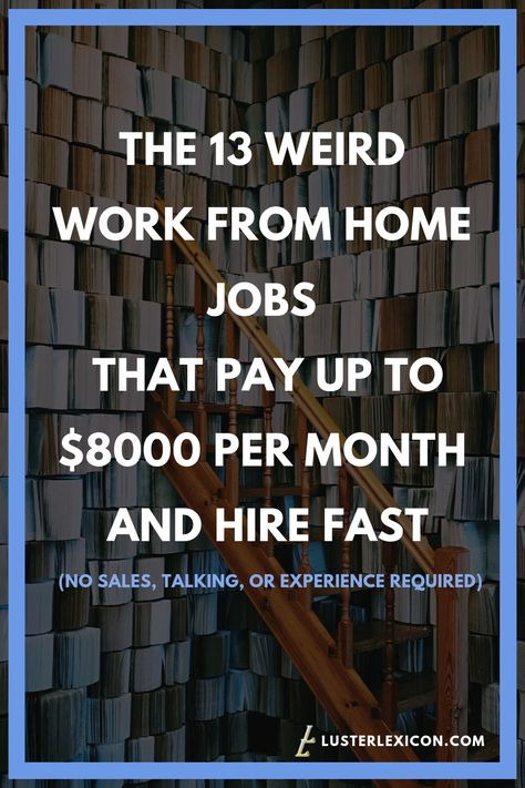THE 13 WEIRD WORK FROM HOME JOBS THAT PAY UP TO $8000 PER MONTH AND HIRE FAST
