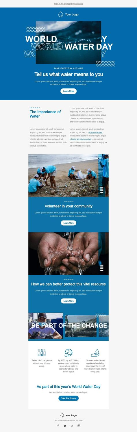 Tell Us What Water Means To You - Email Template