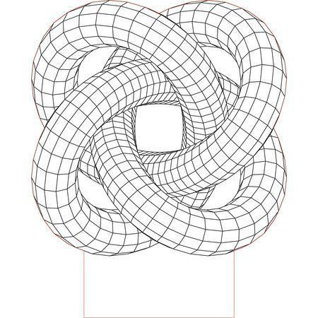 Torus Knot4 3d Illusion Vector File For Laser And Cnc 3bee Studio Dibujo Con Lineas Arte De Geometría Tatuaje De Geometría Sagrada