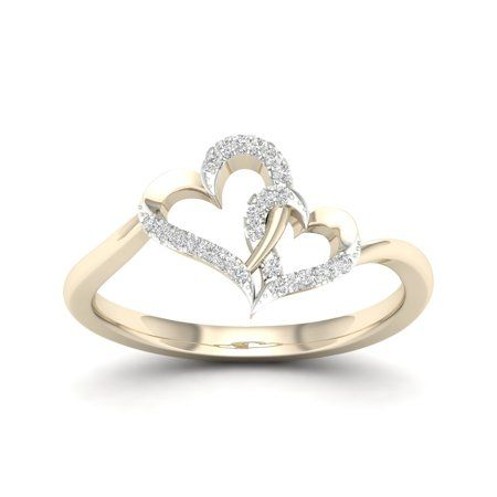 Imperial 1 20ct Tdw Diamond 10k Rose Gold Double Heart Ring Walmart Com Diamond Heart Ring Double Heart Ring Heart Ring