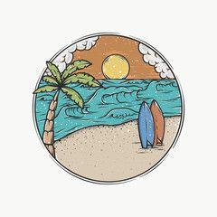 80 S Style Vintage Retro California Slogan Summer Surf And Palm Beach Style Vector Design Tropical Paradise Retro California California Illustration Surf Logo