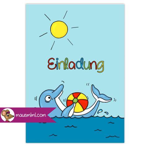 Photo of DIN A6 Einladungskarte Kindergeburtstag Party Poolparty Delfin