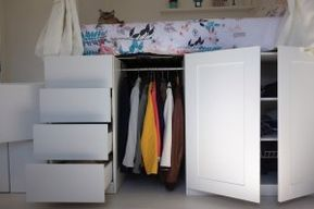 Diy Un Lit Dressing Gain De Place Avec Des Rangements De Fille Lit Mezzanine Rangement Sous Lit Lit Rangement