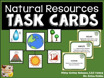 Natural Resources Earth Science Task Cards Science Task Cards Earth Science Task Cards