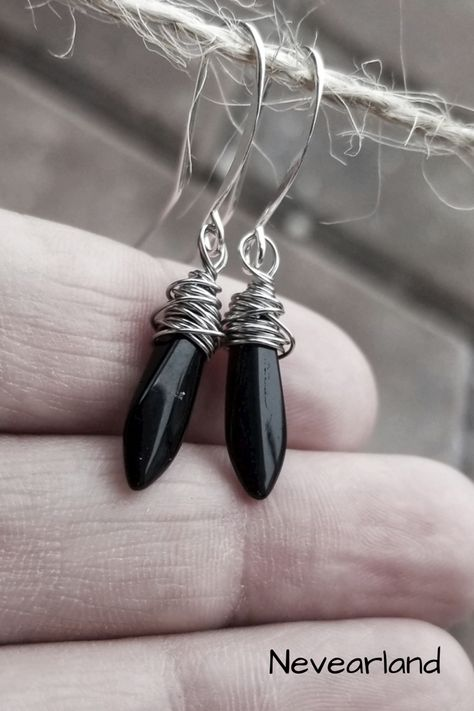 BLACK ONYX Drop EARRINGS Sterling Silver Earrings Gemstone Jewelry Textured Silver Oval Earrings Frost Texture Black Gemstone Dangle Earwire