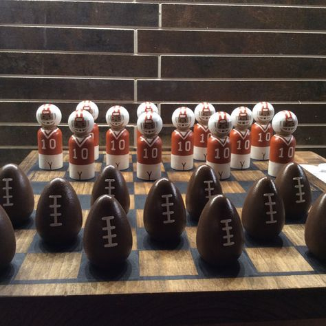 FOOTBALL CHECKER SET  burnt orange & white by WOODuPlayGames