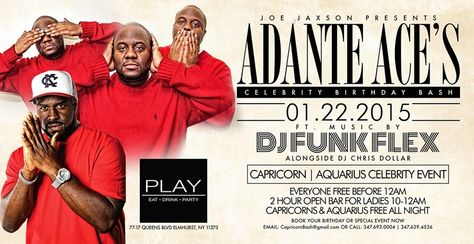 Adante Ace's Celebrity Birthday Bash @ Play Lounge Thursday January 22, 2015 « Bomb Parties – Club Events and Parties – NYC Nightlife Promotions