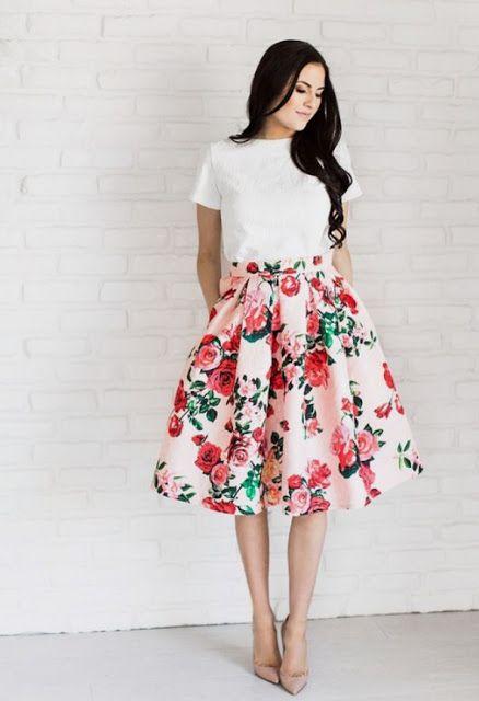 4847d035b2b MODA CRISTIANA AL DIA: Rosas hermosas | Skirts en 2019 | Faldas ...