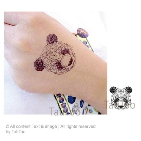 Panda tattoo 2pcs   Temporary Tattoo T216 by TatiToo on Etsy, $4.99