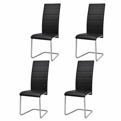4 X Faux Leather Upholstered Dining Room Chairs Set Steel For Home Tables Black Ebay In 2020 Dining Room Chairs Upholstered Cantilever Dining Chair Dining Chairs