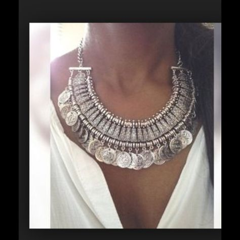 Silver coin statement necklace gold boho summer Super sexy shimmy coin statement necklace avil in gold or silver! Perfect way to add a little boho style to your spring and summer wardrobe! Ships immediately metal alloy Jewelry Necklaces