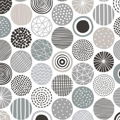 Dots Geometrical Patterned Black&White Grey by caja_design