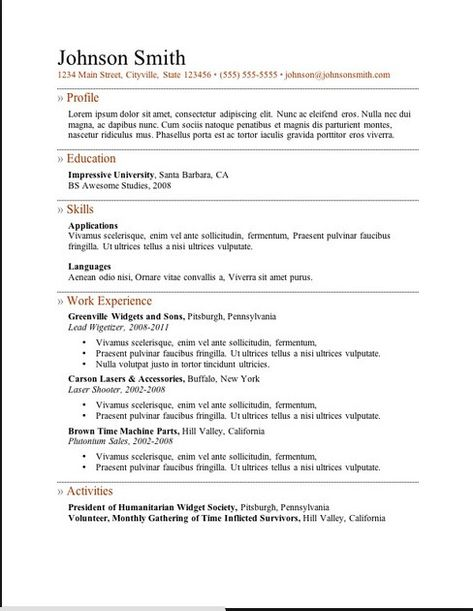 Resume Templates In Microsoft Word To Download resume Pinterest - band director resume