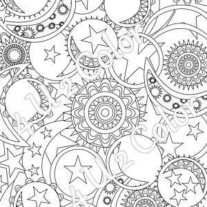 Sun Moon Stars 1 Coloring Page Sun Moon Stars Etsy Coloring Pages Mandala Coloring Pages Sun And Moon Mandala
