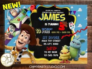 Toy Story 4 Birthday Party Invitation Invitaciones De Toy