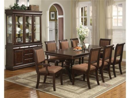 Crown Mark 2145 Merlot Classic Cherry Finish Solid Wood Dining Room Set 9 Pcs Formal Dining Room Furniture Sets Luxury Dining Room Tables Formal Dining Room Table