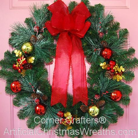 12 Inch Artificial Decorative Pine Wreath with Shatterproof Ball Ornaments Front Door Ribbon for Christmas Party Decor Christmas Wreath Traditional Christmas Advent Wreath