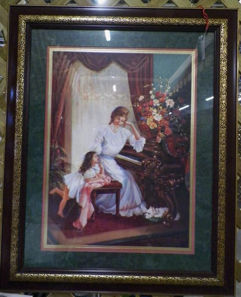 Large Like New Home Interior Picture Of Woman And Child