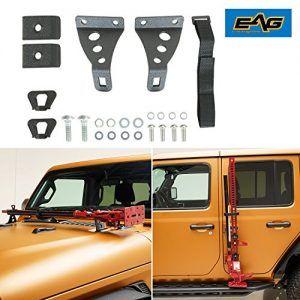 Eag Jeep Wrangler Hi Lift Jack Mount Hood And Door Hinge Brackets