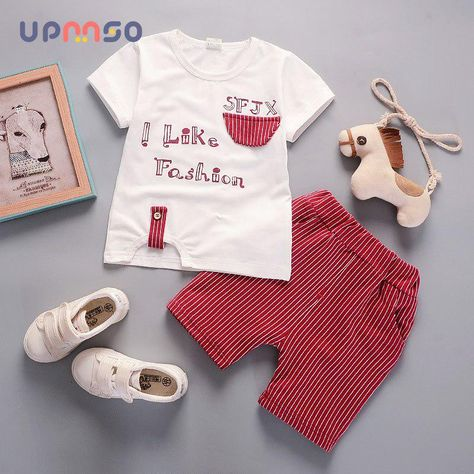 74ab78ae02c Baby Boy Clothes 2018 Summer Infant Clothing Cartoon Short Sleeved T-Shirts  Tops Striped Pants Kids Costume Jogging Suits. Yesterday s price  US  9.86  (8.57 ...